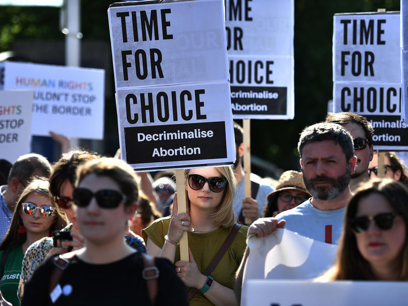 Activist group Solidarity with Repeal holds a rally calling for abortion rights outside Belfast City Hall last week in Belfast, Northern Ireland. The rally follows Ireland's vote to repeal a constitutional ban on abortion.