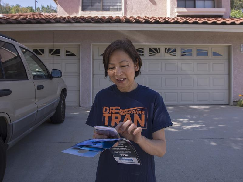 Dr. Mai Khanh Tran, a Democrat seeking election to the U.S. House of Representatives to represent the 39th Congressional District of California, canvasses last weekend in Rowland Heights, Calif. The predominantly Asian-American community lies in historica