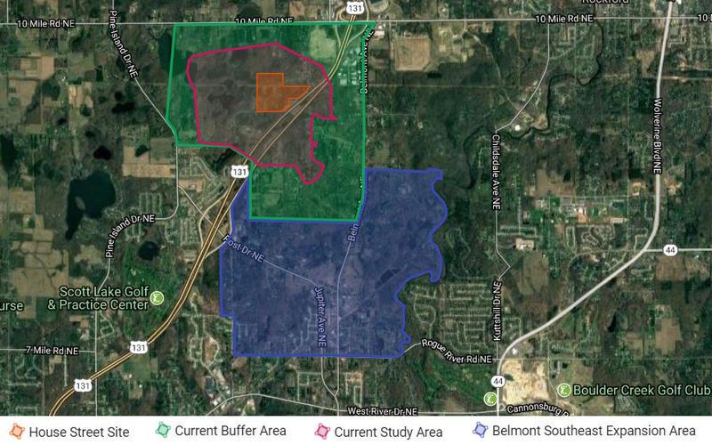 The DEQ PFAS Investigation Map near Rockford, MI