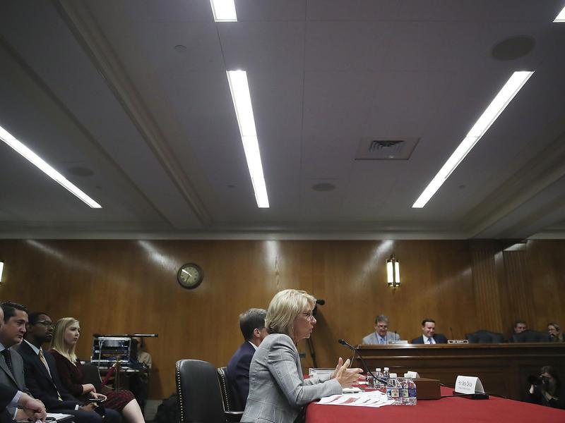 Education Secretary Betsy DeVos testified on Capitol Hill on Tuesday.