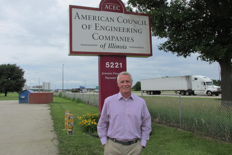 Dave Bender outside his Springfield office adjacent to I-55.