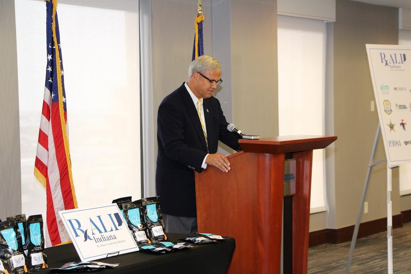 Indiana Sen. Jim Merritt (R-Indianapolis) announces RALI Indiana coalition. (Photo courtesy of Bose Public Affairs)