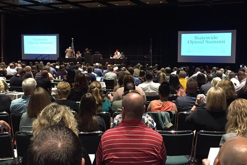 Nearly 1,000 people attended the Statewide Opioid Summit in Indianapolis. (Jill Sheridan/IPB News)