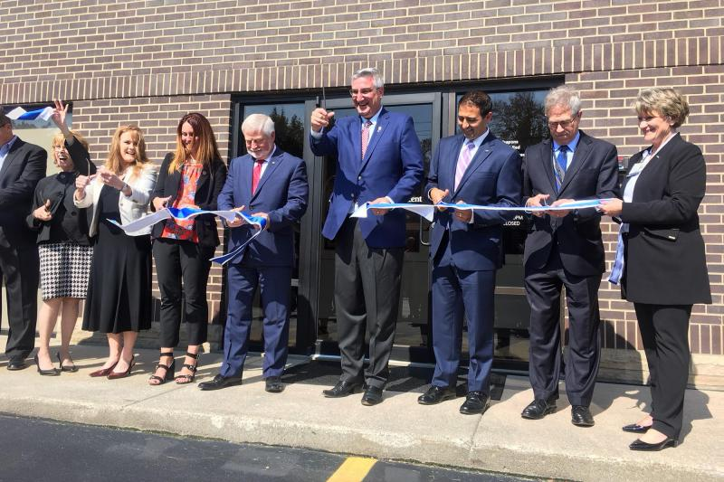 Gov. Eric Holcomb at a ribbon-cutting ceremony at the new FCA Family Health & Wellness Center in Kokomo. (Photo provided by St. Vincent)