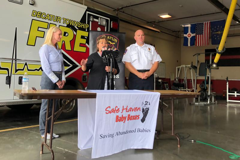 Monica Kelsey, founder of Safe Haven Baby Boxes, speaks at Decatur Township Fire Department. The station will become Indiana's third Baby Box location, though the installation has been delayed by a week or two. (Sarah Panfil/WFYI)