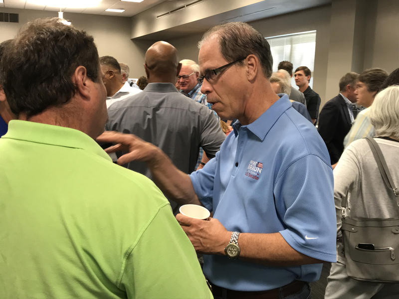 Republican U.S. Senate candidate Mike Braun speaks with supporters at the Indiana State Fair. (Brandon Smith/IPB News)