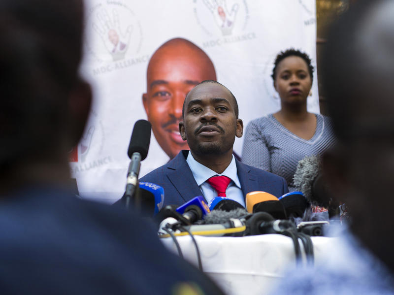 Nelson Chamisa addresses a news conference earlier this month in the capital, Harare. On Friday, Chamisa's opposition Movement for Democratic Change filed a legal challenge of the presidential election won by his opponent, incumbent President Emmerson Mna