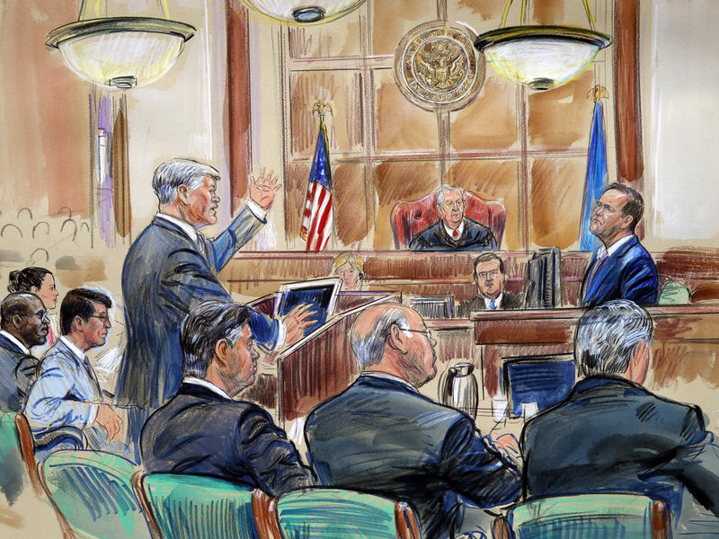 This courtroom sketch depicts defense lawyer Kevin Downing questioning of Rick Gates, as former Trump campaign chairman Paul Manafort listens.