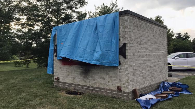 Anti-Semitic graffiti was spray-painted at Congregation Shaarey Tefilla in Carmel, on the bricks making up a shed for the synagogue's garbage container.