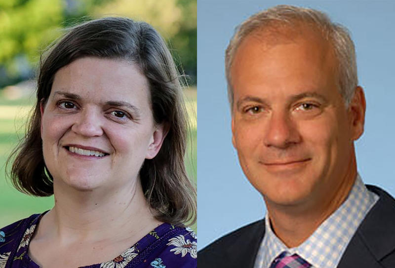 Dr. Melissa Collier, left, will join the state health department and Dr. Daniel Rusyniak, right, will join the state Family and Social Services Administration. (Photos courtesy of LinkedIn, Indiana University)