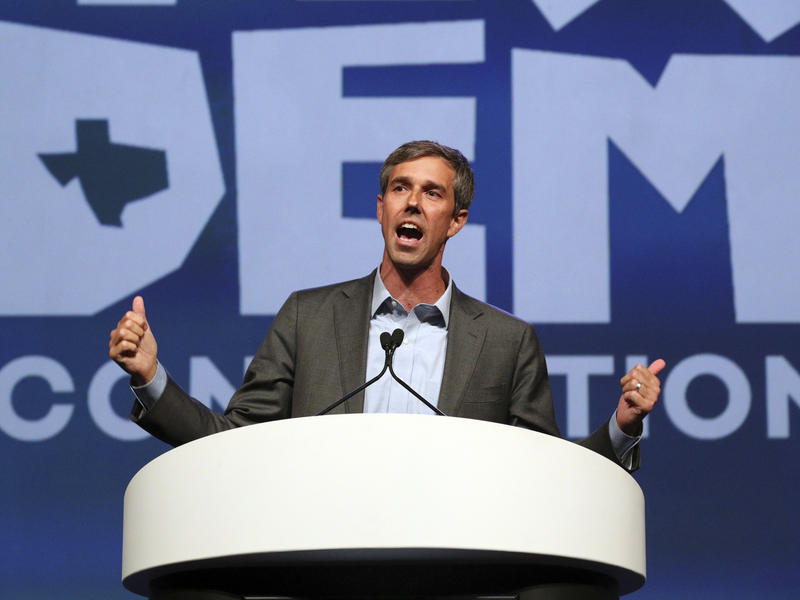 Beto O'Rourke speaks at the Texas Democratic Convention in June. Since winning the Democratic primary, O'Rourke has embraced progressive positions — at times, including impeaching President Trump — as he challenges GOP Sen. Ted Cruz's reelection bid.