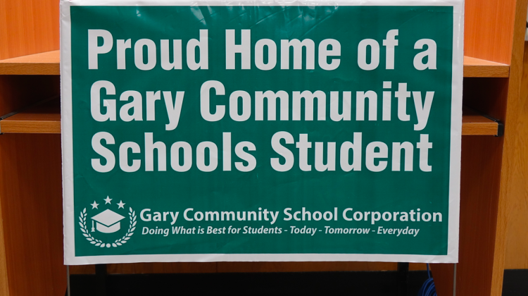 A yard sign to promote Gary Community School District