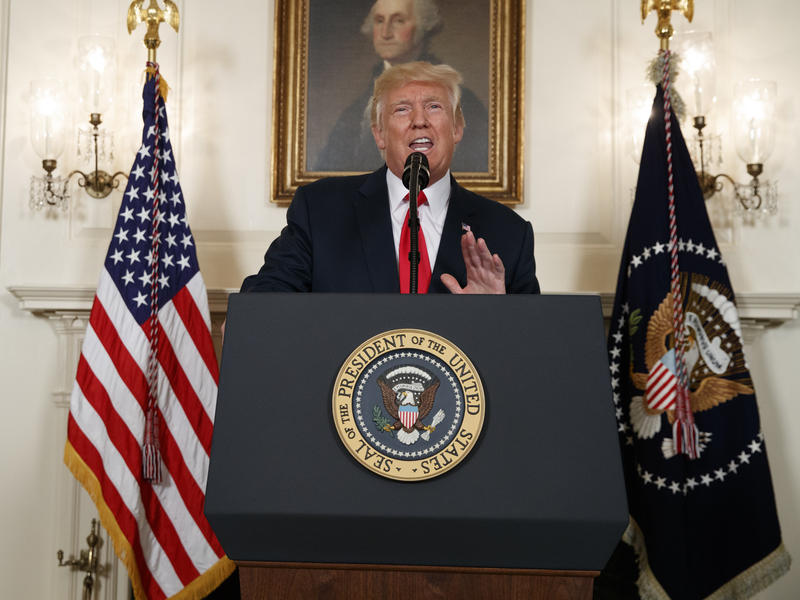 "President Donald Trump condemned neo-Nazis and white supremacists in remarks about the Charlottesville, Va. rally at the White House on Monday, Aug. 14, 2017. He later undercut these remarks by blaming ""both sides"" for the violence at the rally."