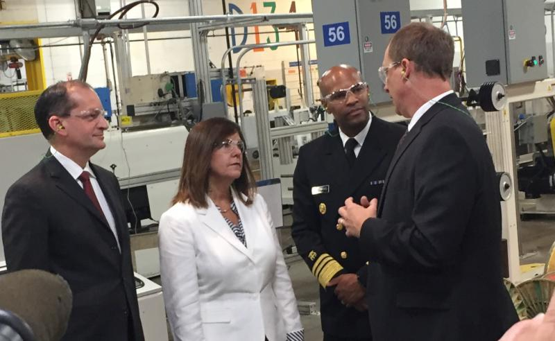 Secretary of Labor Alex Acosta, Second Lady Karen Pence and U.S. Surgeon General Jerome Adams tour the Belden plant in Richmond. (Jill Sheridan IPB News)