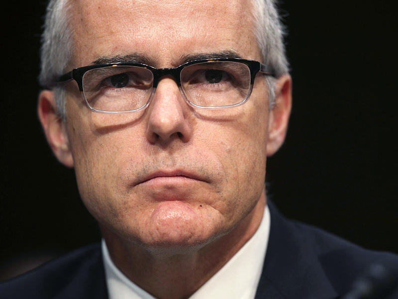 Then-Acting FBI Director Andrew McCabe testifies before the Senate intelligence committee on Capitol Hill May 11, 2017, in Washington, D.C.