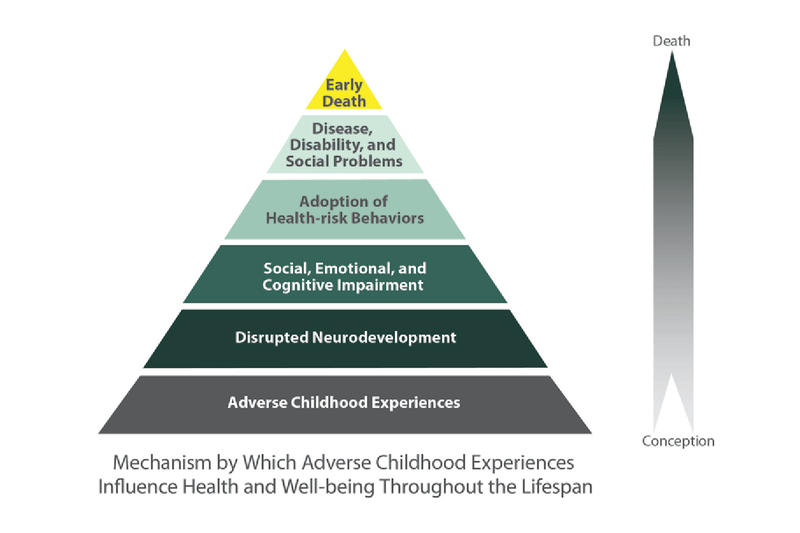 The ACE Pyramid helps visualize how ACEs are related to development of risk factors for disease, and well-being throughout the life course. (Photo courtesy of the Centers For Disease Control and Prevention)