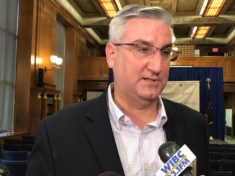 Gov. Eric Holcomb says he won't comment on allegations of intimidation and adultery leveled at House Speaker Brian Bosma (R-Indianapolis). (Brandon Smith/IPB News)