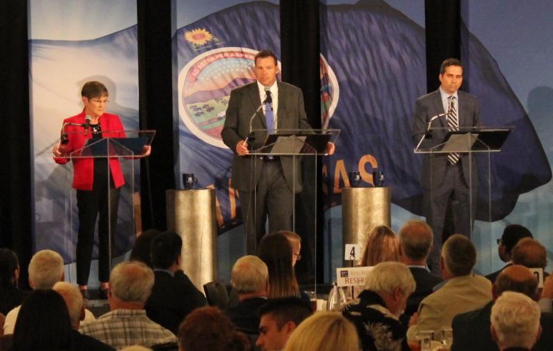 Laura Kelly, Kris Kobach and Greg Orman.