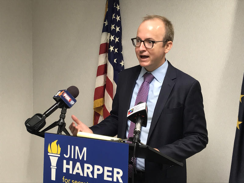 Democratic Secretary of State candidate Jim Harper says Republican incumbent Connie Lawson shouldn't accept campaign donations from auto dealers. (Brandon Smith/IPB News)