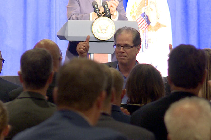 Republican U.S. Senate candidate Mike Braun waves to the crowd during Vice President Mike Pence's speech at a fundraising event in Indianapolis Friday. (Lauren Chapman/IPB News)