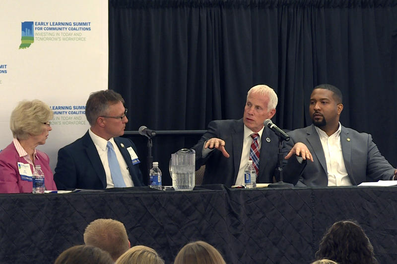 Four lawmakers discussed early learning during a panel session Tuesday: Rep. Sue Errington (D-Muncie), Sen. Jeff Raatz (R-Centerville), Rep. Bob Behning (R-Indianapolis), and Sen. Eddie Melton (D-Gary). (Jeanie Lindsay/IPB News)