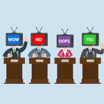 Illustration of 4 politicians with TVs for heads. Political Propaganda pbs rewire