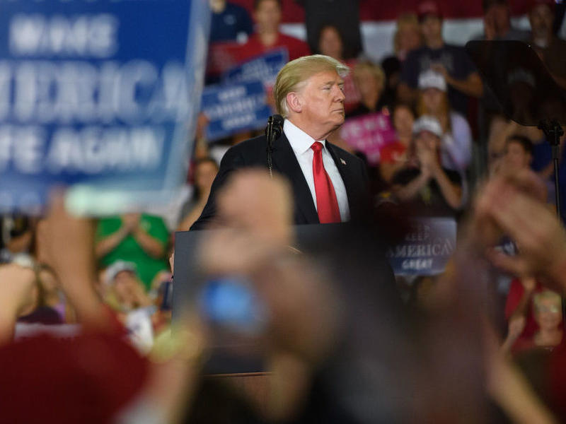 President Trump speaks to supporters at a rally Wednesday in Erie, Pa.