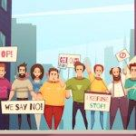 Illustration of people holding signs at a peaceful protest. pbs rewire