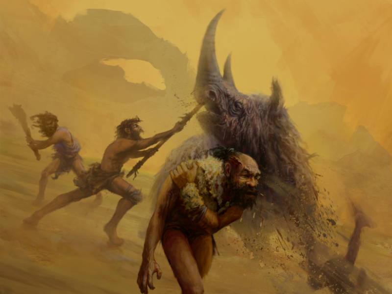 Neanderthals are believed to have relied on dangerous close range hunting techniques, using non-projectile weapons like the thrusting spears depicted in this artist's rendition.