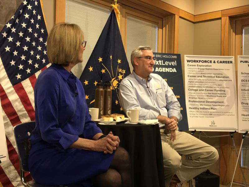 Gov. Eric Holcomb discusses his 2019 agenda, which includes grants to help build out trail systems statewide. (Brandon Smith/IPB News)