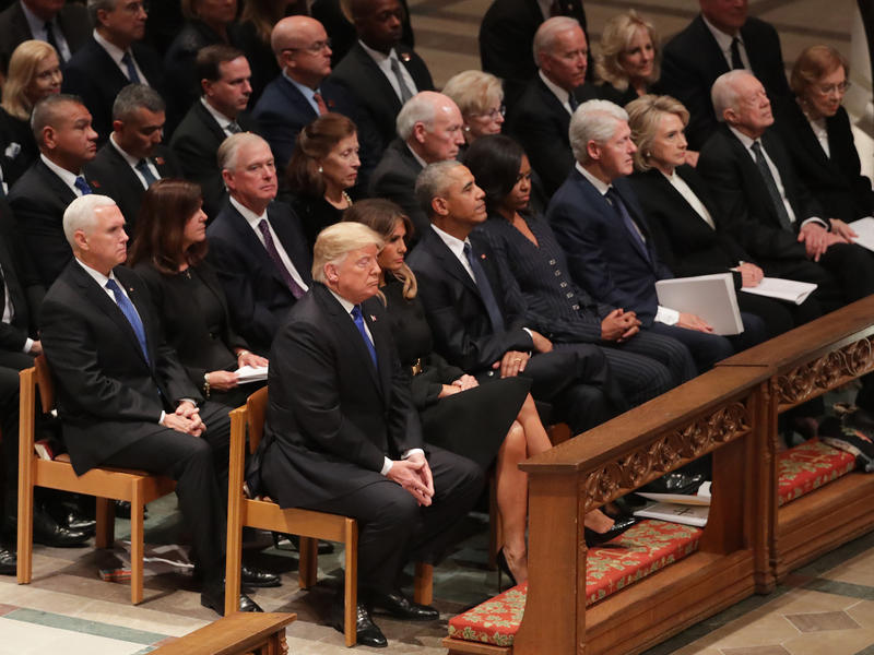 Former presidents, vice presidents, first ladies and President Trump attend the state funeral for former President George H.W. Bush at the National Cathedral on Wednesday.
