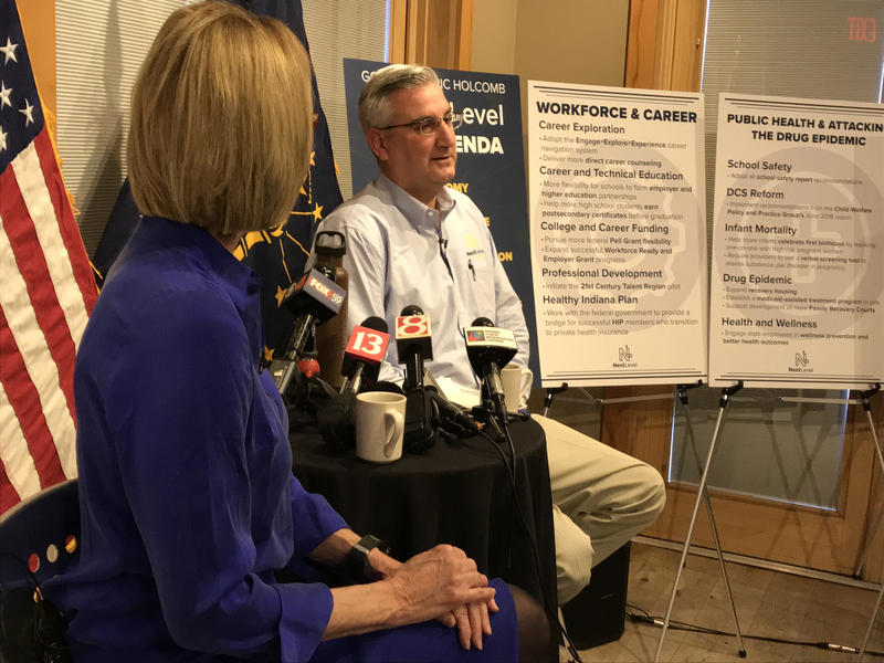 Lt. Gov. Suzanne Crouch and Gov. Eric Holcomb discuss their 2019 policy agenda. (Brandon Smith/IPB News)