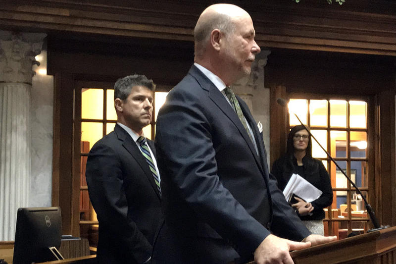 Senate President Pro Tempore Rodric Bray (R-Martinsville) and House Republican leader Brian Bosma (R-Indianapolis) say Holcomb's message on hate crimes have been consistent for months. (Brandon Smith/IPB News)