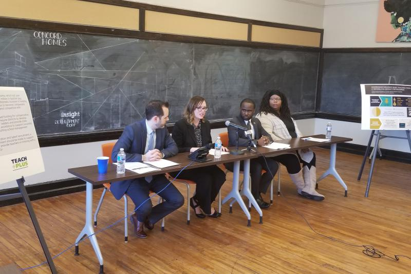 Stand for Children Executive Director Justin Ohlemiller, reading instructor Danica Park, Tindley Summit Academy principal David McGuire, and IPS parent LaToya Tahirou helped present the report. (Jeanie Lindsay/IPB News)