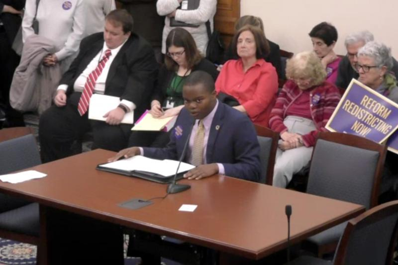 High school student Christian Omoruyi testifies before the Senate Elections Committee. (Indiana General Assembly)