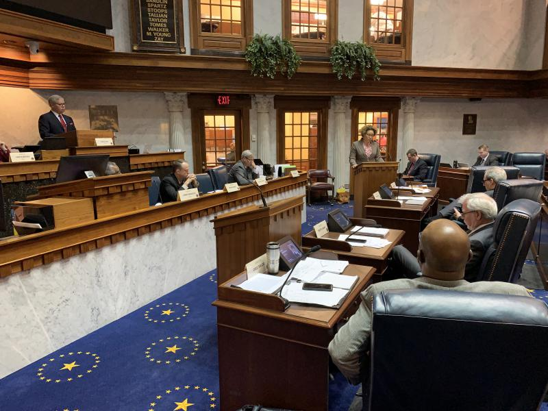 The Senate Public Policy Committee considers testimony on a hate crimes bill. (Brandon Smith/IPB News)