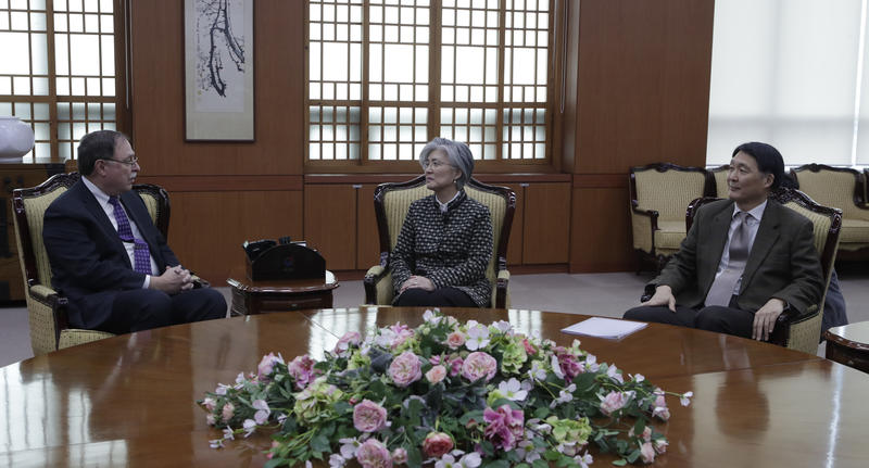 South Korean Foreign Minister Kang Kyung-wha (center) Timothy Betts, acting Deputy Assistant Secretary and Senior Advisor for Security Negotiations and Agreements in the U.S. Department of State (left) and South Korean Foreign Ministry's representative Ja