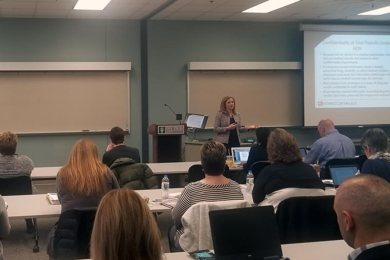 Amy Adolay answers some of the legal questions employers have about handling substance abuse issues with employees. (Samantha Horton/IPB News)
