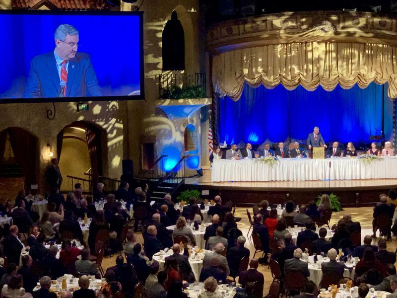 Gov. Eric Holcomb speaks at the 2019 Indiana Leadership Prayer Breakfast. (Brandon Smith/IPB News)
