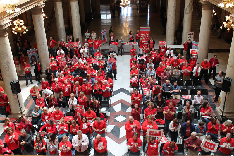 Several groups helped organize Tuesday's rally, including the Indiana PTA and Coalition for Public Education. (Lauren Chapman/IPB News)
