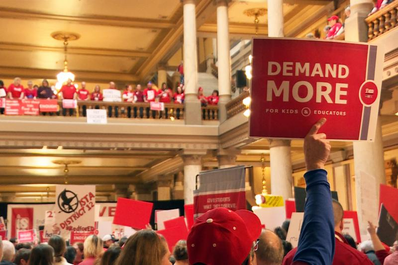 Teachers have rallied and lobbied lawmakers at the statehouse throughout the 2019 session for better pay (Chelsea Wardrop/WTIU)