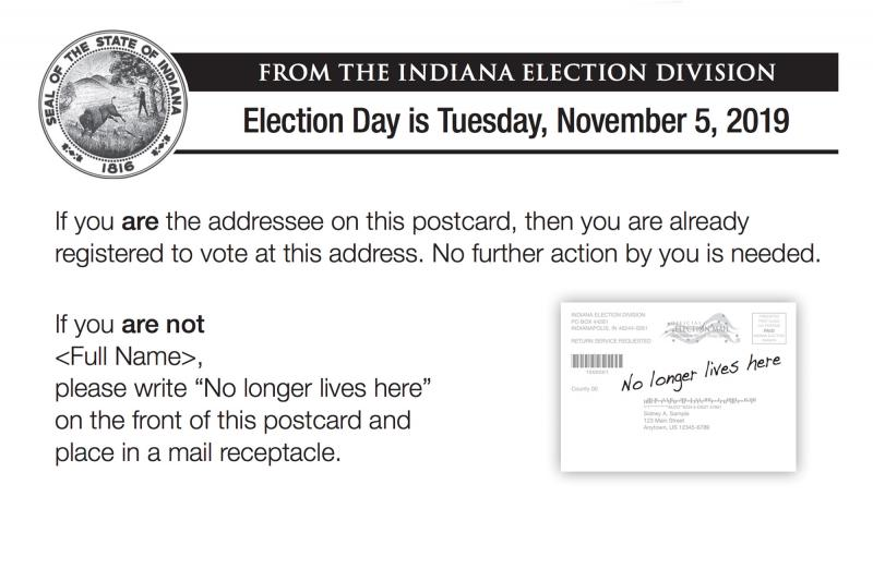 An example of the postcards sent to registered voters by the Secretary of State's office. These cards are part of the state's effort to purge voter rolls. (Courtesy Indiana Secretary of State)