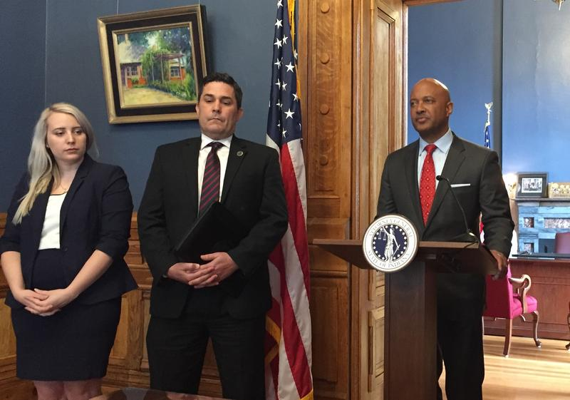 Indiana Attorney General Curtis Hill announces a lawsuit against the Sackler family. (Jill Sheridan/IPB News)
