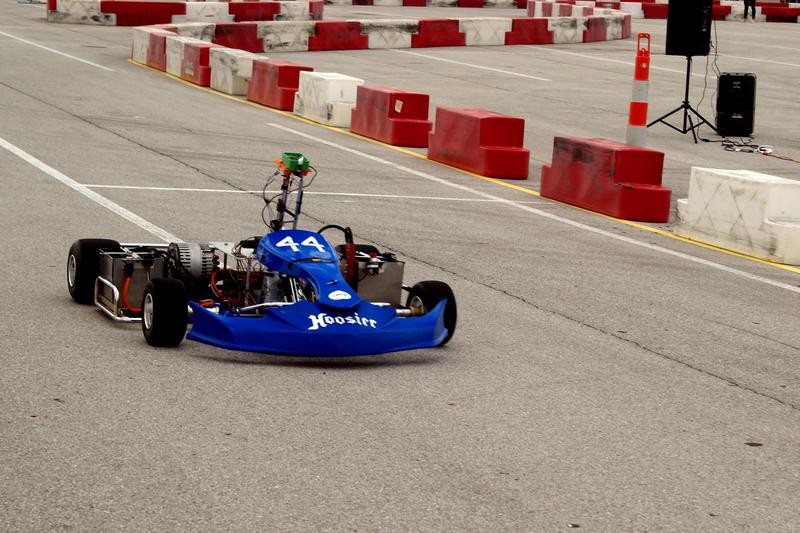 A Purdue University team's autonomous kart makes its way around a track in the Indianapolis Motor Speedway. (Samantha Horton/IPB News)