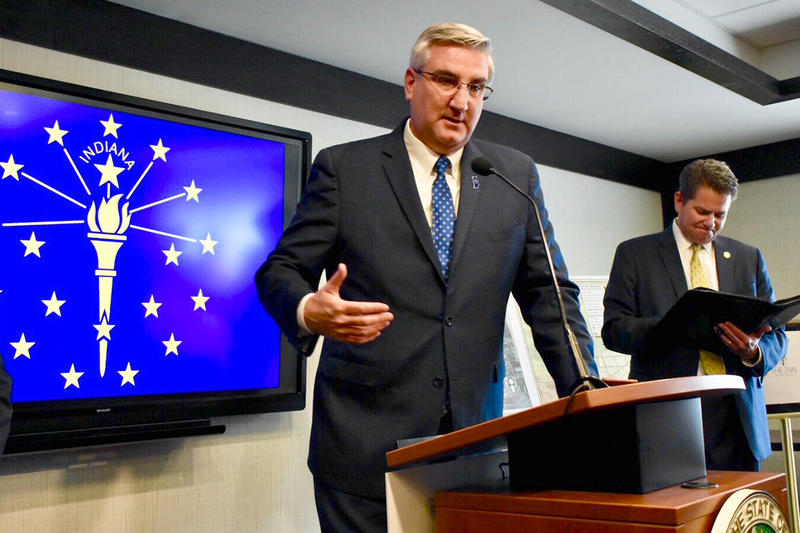 Gov. Eric Holcomb signed a bill into law approving a carbon dioxide underground storage pilot project as well as a statewide study of carbon capture. (Justin Hicks/IPB News)