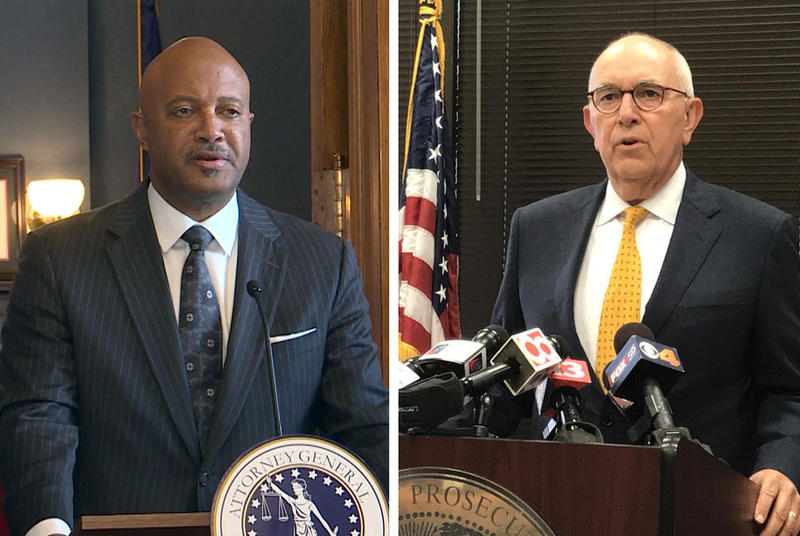 Indiana Attorney General Curtis Hill, left, and Marion County Prosecutor Terry Curry, right, are again clashing over a state abortion lawsuit. (FILE PHOTOS: Lauren Chapman and Brandon Smith/IPB News)
