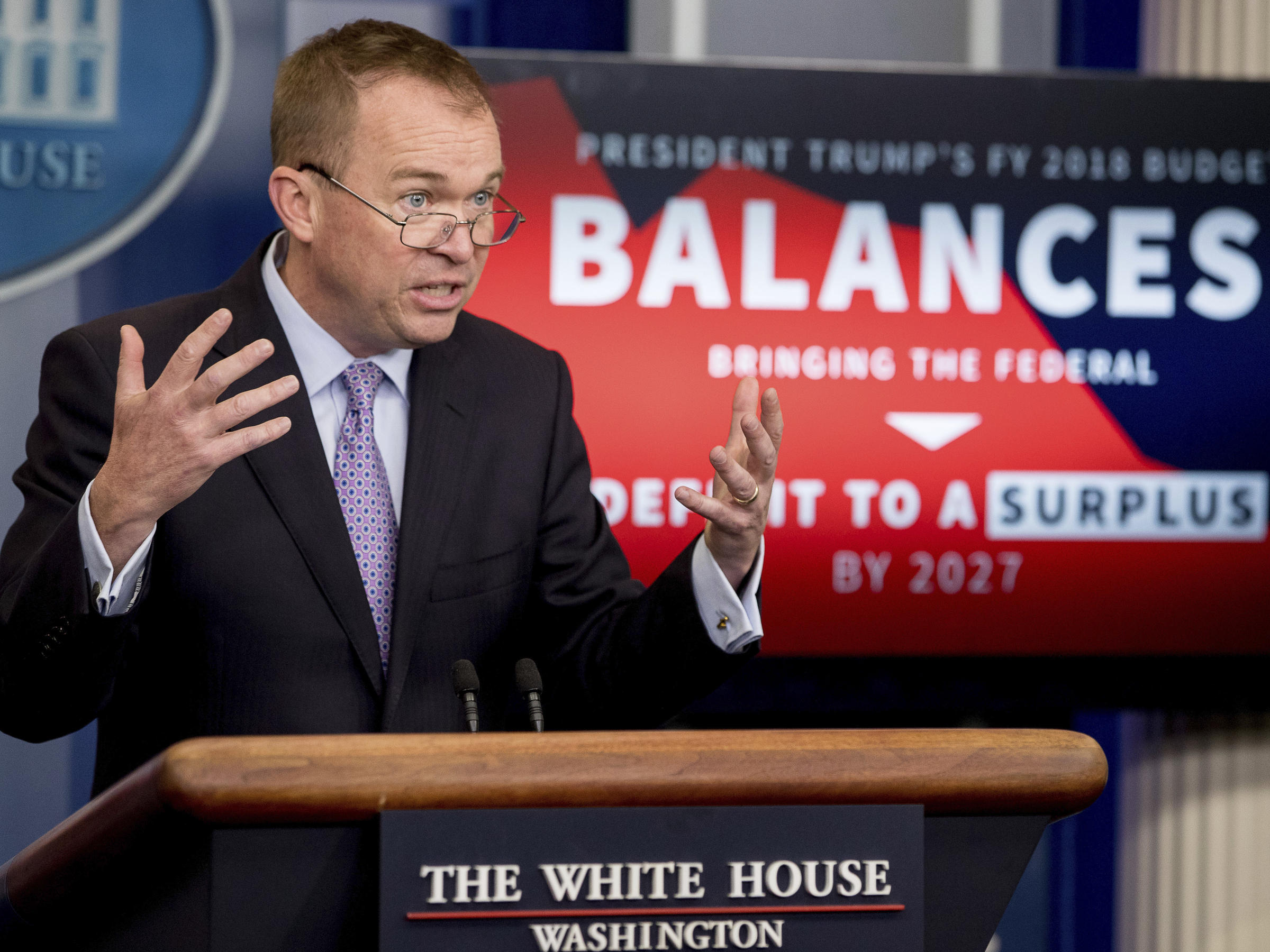 White House Budget Director Mick Mulvaney speaks to the reporters about President Trump's proposed budget on Tuesday