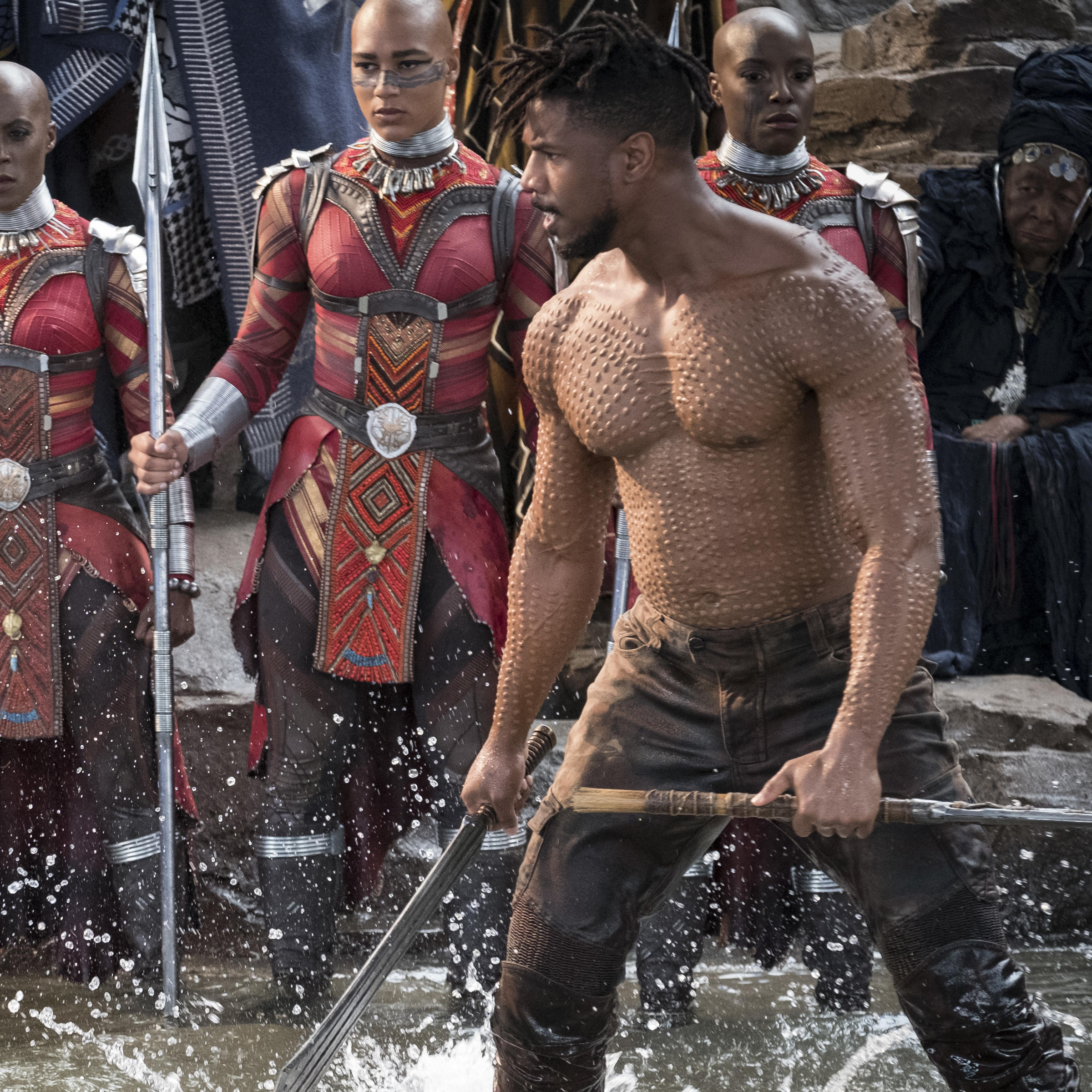 37b0e29c4a2 T'Challa/Black Panther (Chadwick Boseman) and Erik Killmonger (Michael B.  Jordan) settle their differences, Wakanda style.