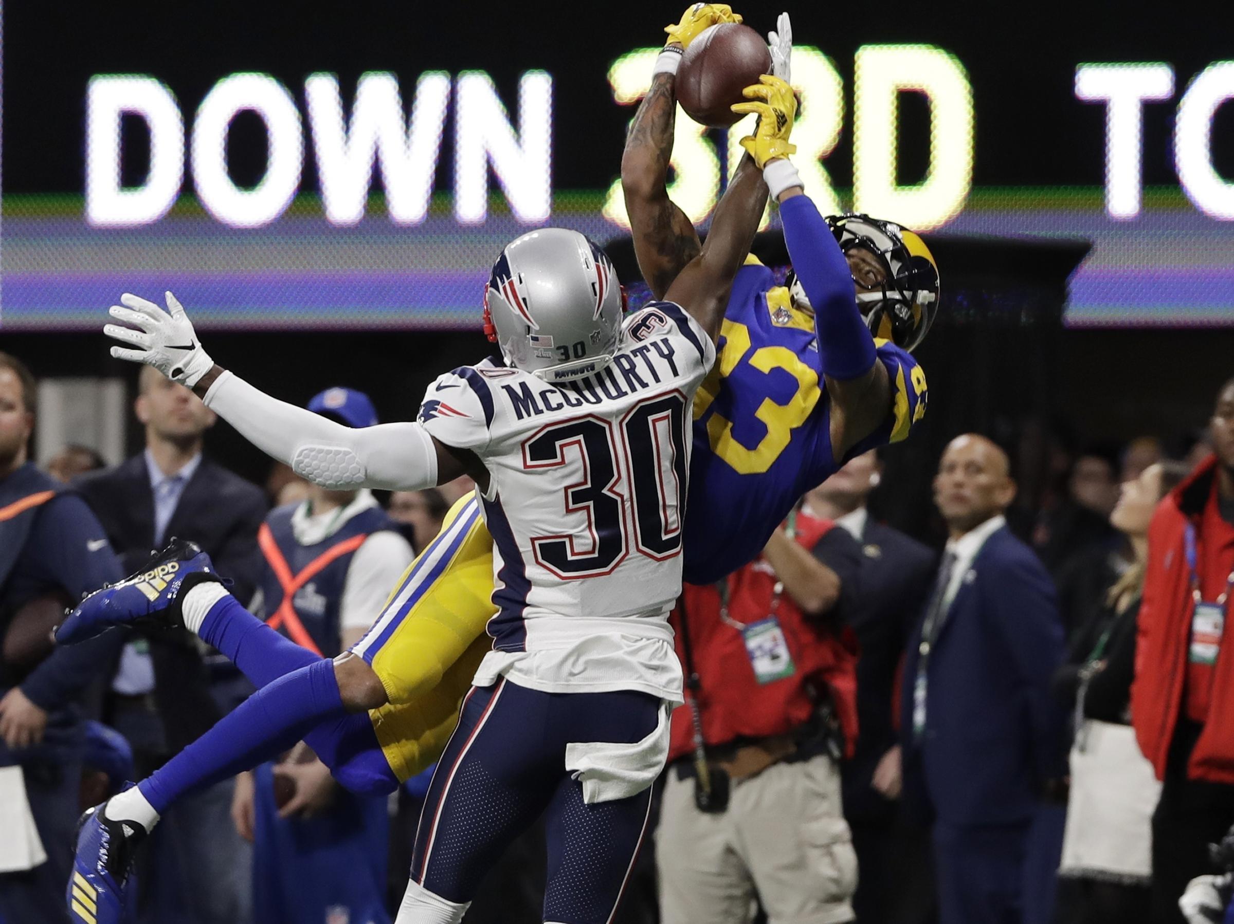 New England Patriots  Jason McCourty (30) breaks up pass intended Los  Angeles Rams  Josh Reynolds (83) 4c55c1877