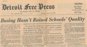 Coverage from the Detroit Free Press in the mid-1970's questions court ordered busing.
